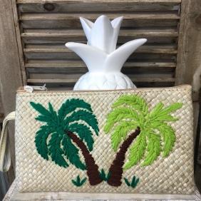 Grande pochette en paille traissée | Palmiers