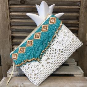 Petite pochette en Paille/crochet | Perles