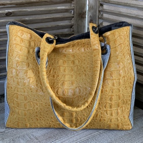 Sac Croco Moutarde / Prince de Galles
