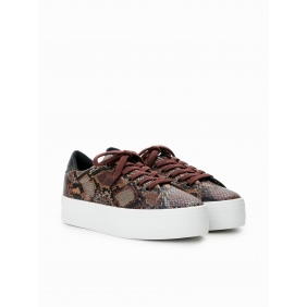 Plato Sneaker - Print Kobra - Brown | NØ NAME